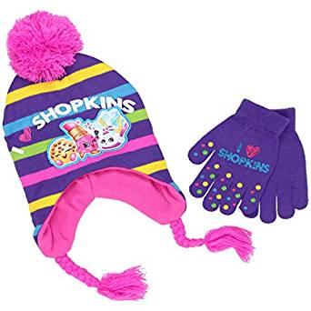 Laplander Hat - Shopkins - Purple Stripes w/Gloves Set Beanie Cap Youth/Kids