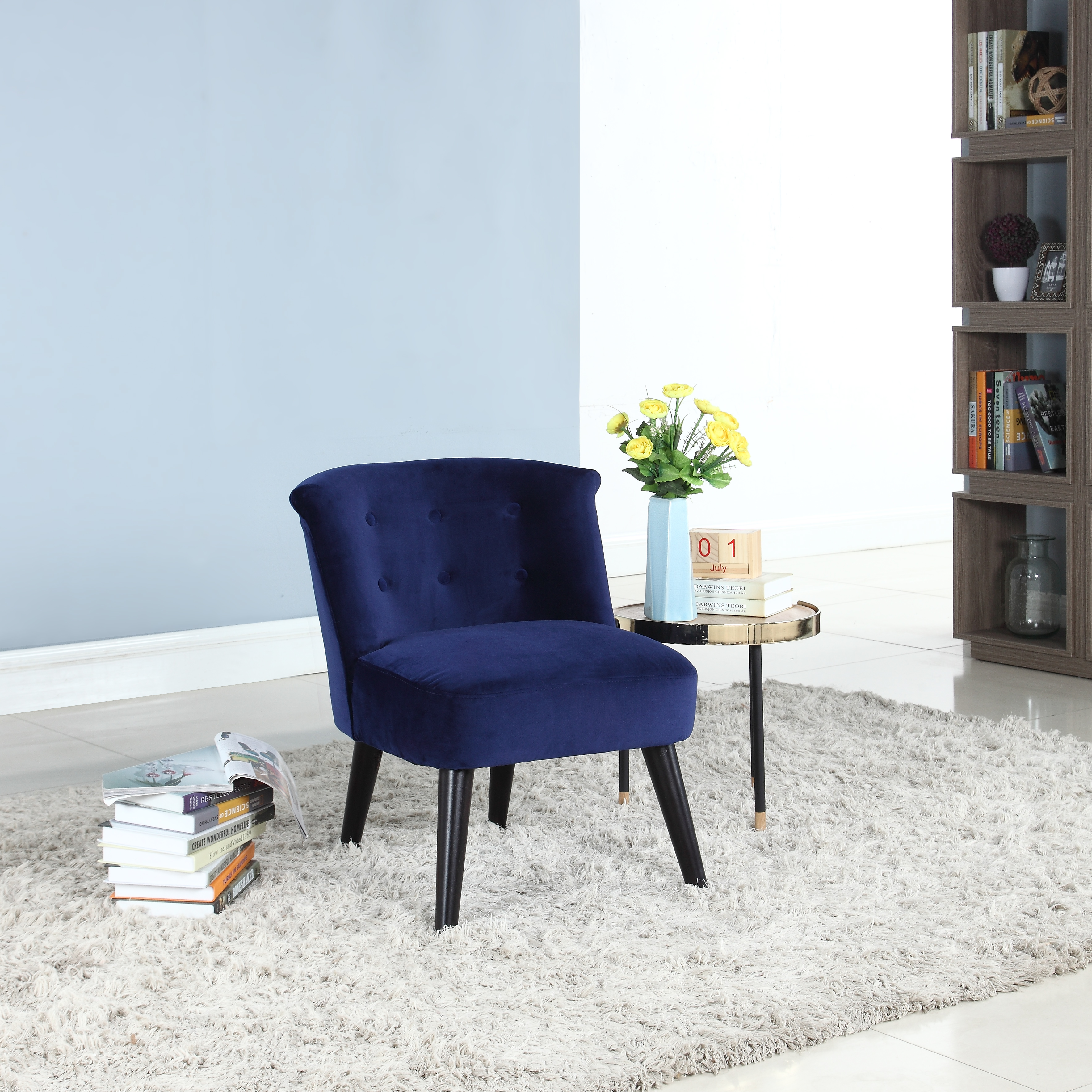 Classic and Traditional Living Room Velvet Fabric Accent Chair with Tufted Details, Navy Blue