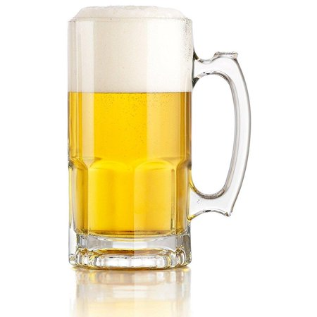 libbey one liter german style extra large glass beer stein super mug, 34 ounce (1) - Disposable Beer Mugs