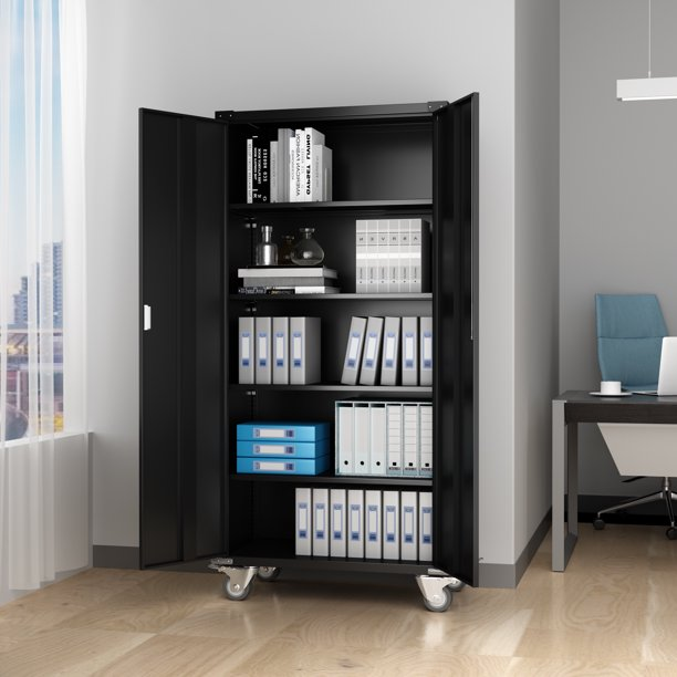 Home Office Steel Storage Cabinet Rolling Storage with 4 ...