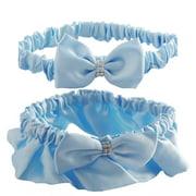 Baby Blue Satin Wedding Garter Set For Bride