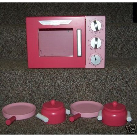 New Wooden Pink Retro Microwave with Pots & Pans for Play