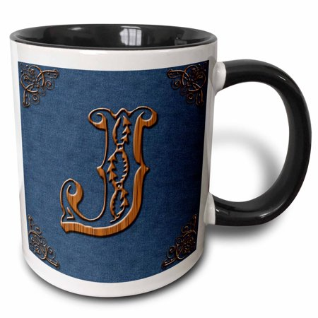- 3dRose Monogram letter J in Victorian Western font that looks like carved oak wood on a denim background. - Two Tone Black Mug, 11-ounce