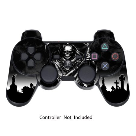 Skin Stickers for Playstation 3 Controller - Vinyl Sticker for DualShock 3 Wireless Game PS3 Sixaxis Controllers - Protectors Sticker Controller Decal Reaper Black (Ps3 Controller Skin Weed)