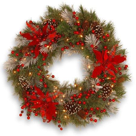 Pre-Lit Tartan Plaid Artificial Christmas Wreath - 24-Inch, LED Lights ()