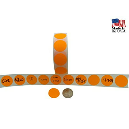 Preferred Postage Supplies Circle Stickers Color Coding Labels Super Bright Neon Orange Round Circle Dots For Organizing Inventory 1 Inch 1,000 Total Adhesive Stickers