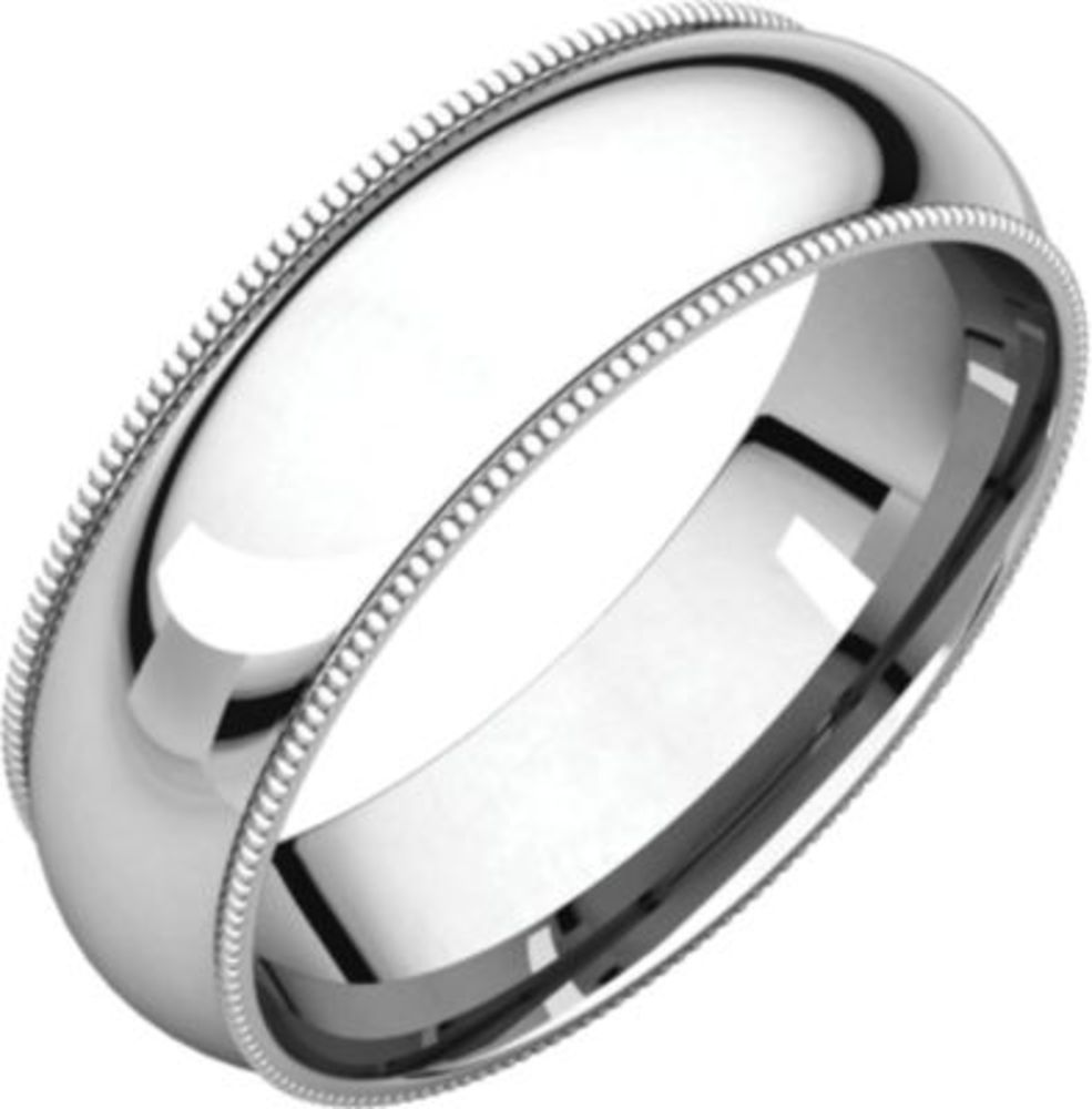 6mm Comfort Fit Milgrain Band in 10k White Gold - Size 10.5