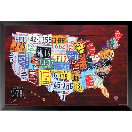 buyartforless United States License Plate Map Framed Wall Poster on using map of missouri license plates, united states map printable pdf, united states license plate game, 50 states license plates, united states map with scale, us map made of license plates, united states license plate designs, united states map art, united states licence plates, united states license plates 2014, united states map printout, furniture made from license plates,