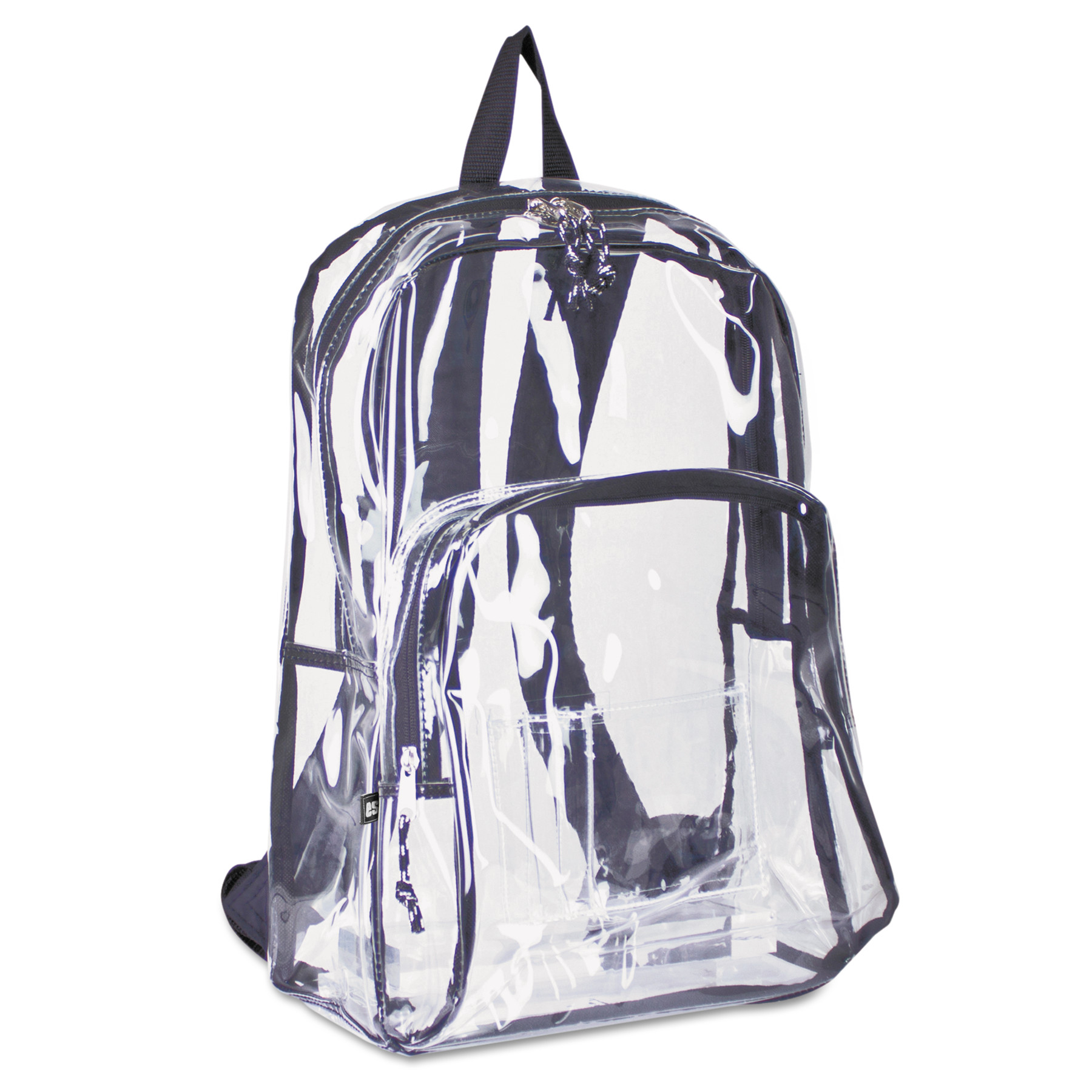Eastsport Backpack, PVC Plastic, 12 1/2 x 5 1/2 x 17 1/2, Clear/Black