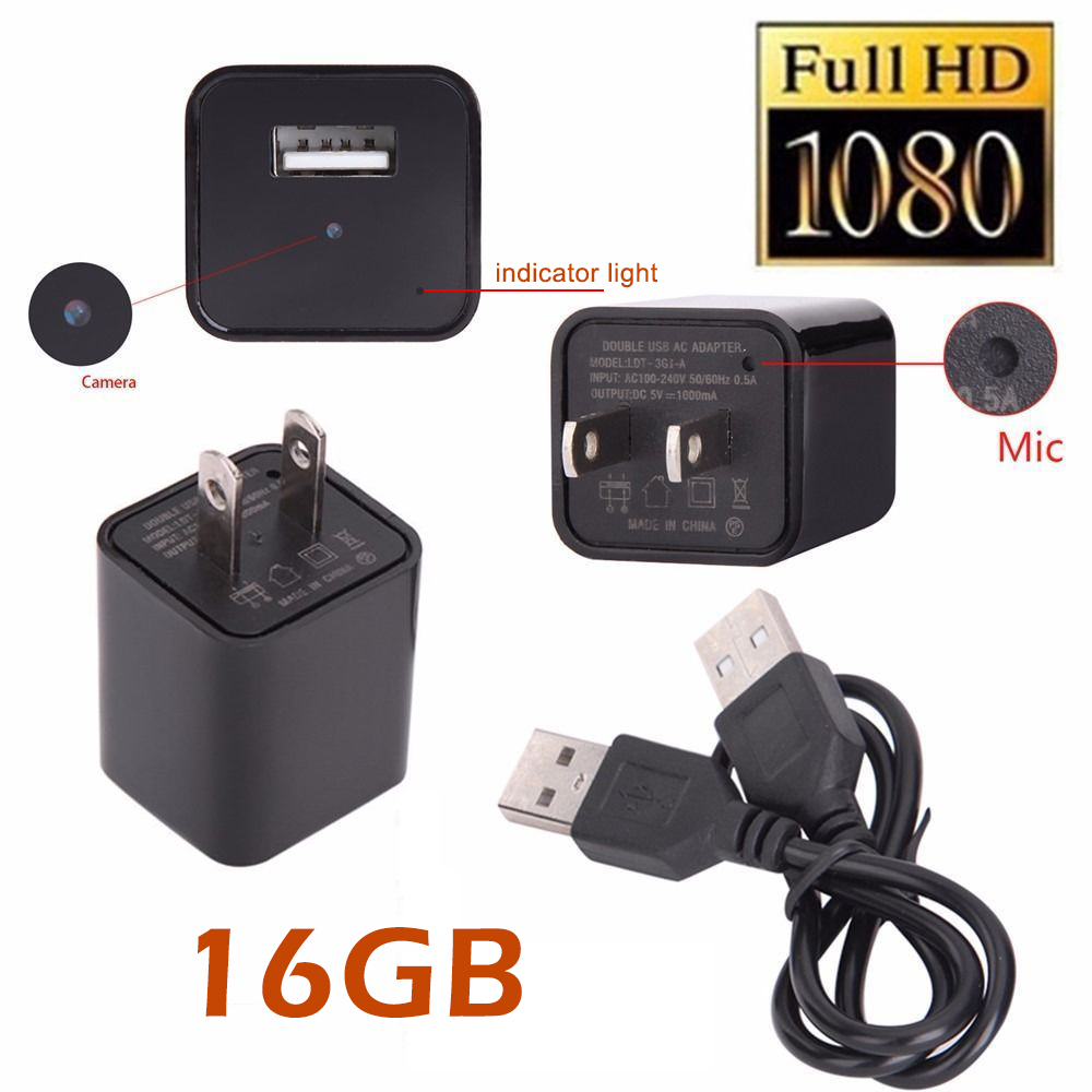 new 16gb hidden spy camera real usb ac adapter wall plug