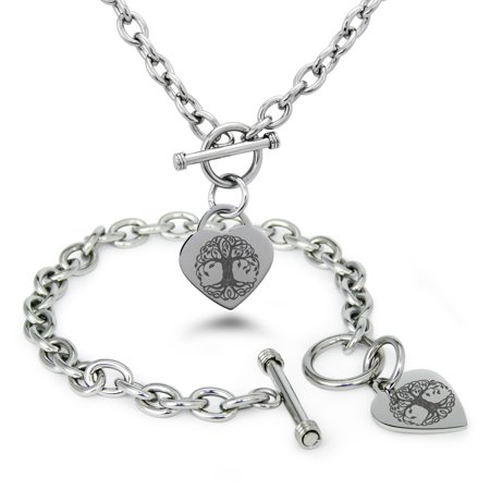 Stainless Steel Celtic Knot Tree of Life Heart Charm Bracelet, Necklace, or Set (Knots Of Love Heart Necklace)
