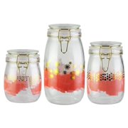 Kitchen Storage Glass Canister, Set of 3 Jars 25, 34 and 51 oz.