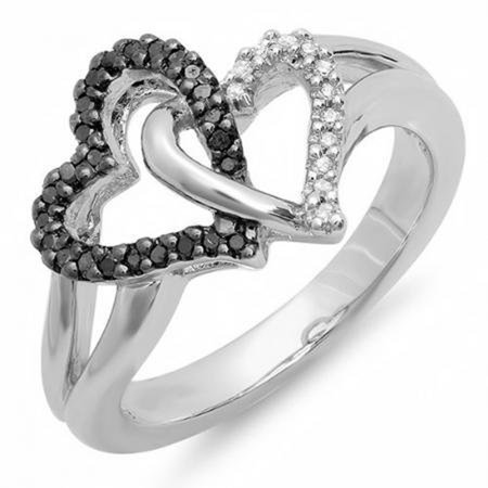 0.25 Carat (ctw) Sterling Silver Black & White Diamond Ladies Split Shank Heart Love Promise Ring 1/4 CT