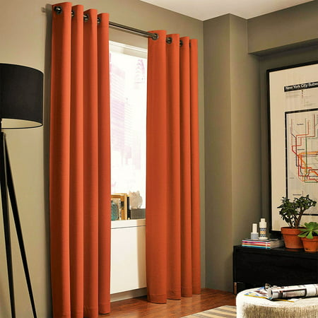- (#86) Hotel Quality Grommet Top, Jacquard  1 PANEL ORANGE  SOLID THERMAL FOAM LINED BLACKOUT HEAVY THICK WINDOW CURTAIN DRAPES BRONZE GROMMETS 84