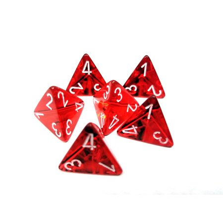 Translucent 18mm 4 Sided D4 Chessex Dice, 6 Pieces - Red with White (Transparent Red Dice)