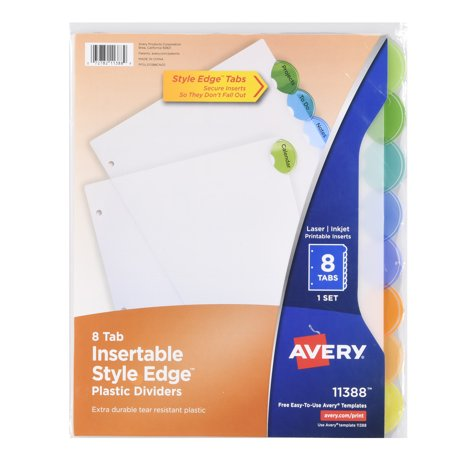 Avery Insertable Style Edge Plastic Dividers With Pockets 11292 5