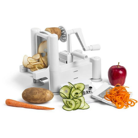 Greenco Strongest-and-heaviest Duty Professional Manual Tri-blade Spiralizer, Fruit and Vegetable Spiral Slicer - 3 Different Sizes of Japanese Stainless Steel Blades with Strong Suction (Meglio Tri Blade Plastic Spiral Vegetable Slicer)