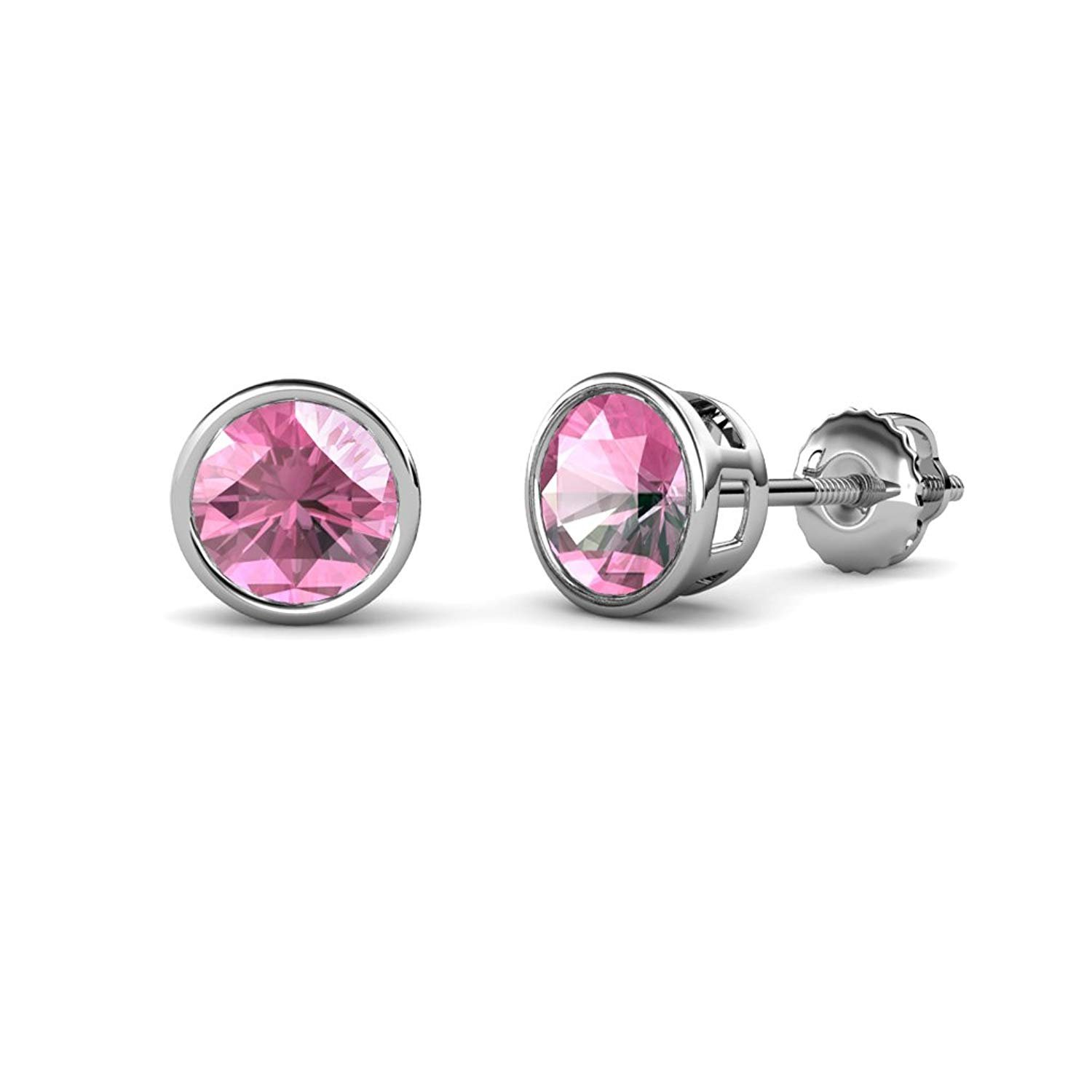 Pink Tourmaline Bezel Set Solitaire Stud Earrings 1.74 cttw in 14K White Gold by TriJewels