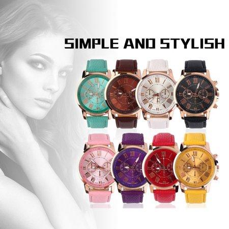 HC-TOP Universal Casual Stylish Numerals PU Leather Alloy Quartz Watch Accessory - image 5 de 6