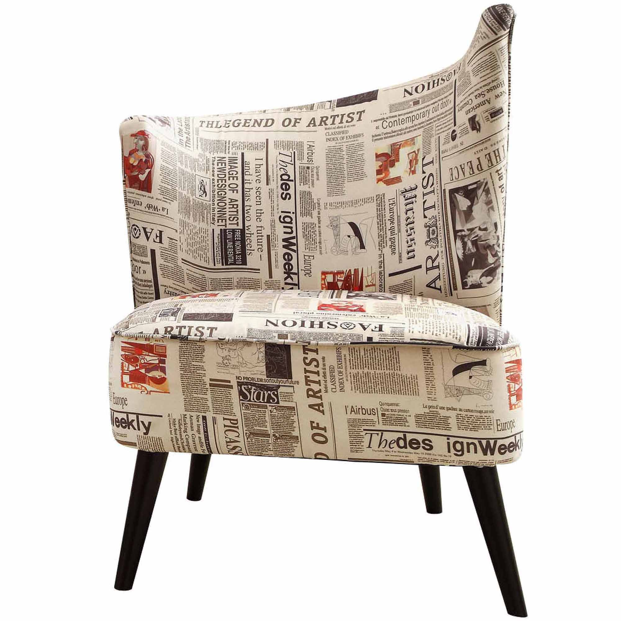 Armen Living Elegant Accent Chair With Flared Back (Left Side) In Newspaper  Fabric