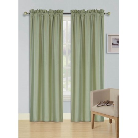 Force Sage Green - 2 PANELS SAGE GREEN SOLID BLACKOUT THERMAL ROD POCKET FOAM LINED WINDOW CURTAIN DRAPE R64 84 LENGTH