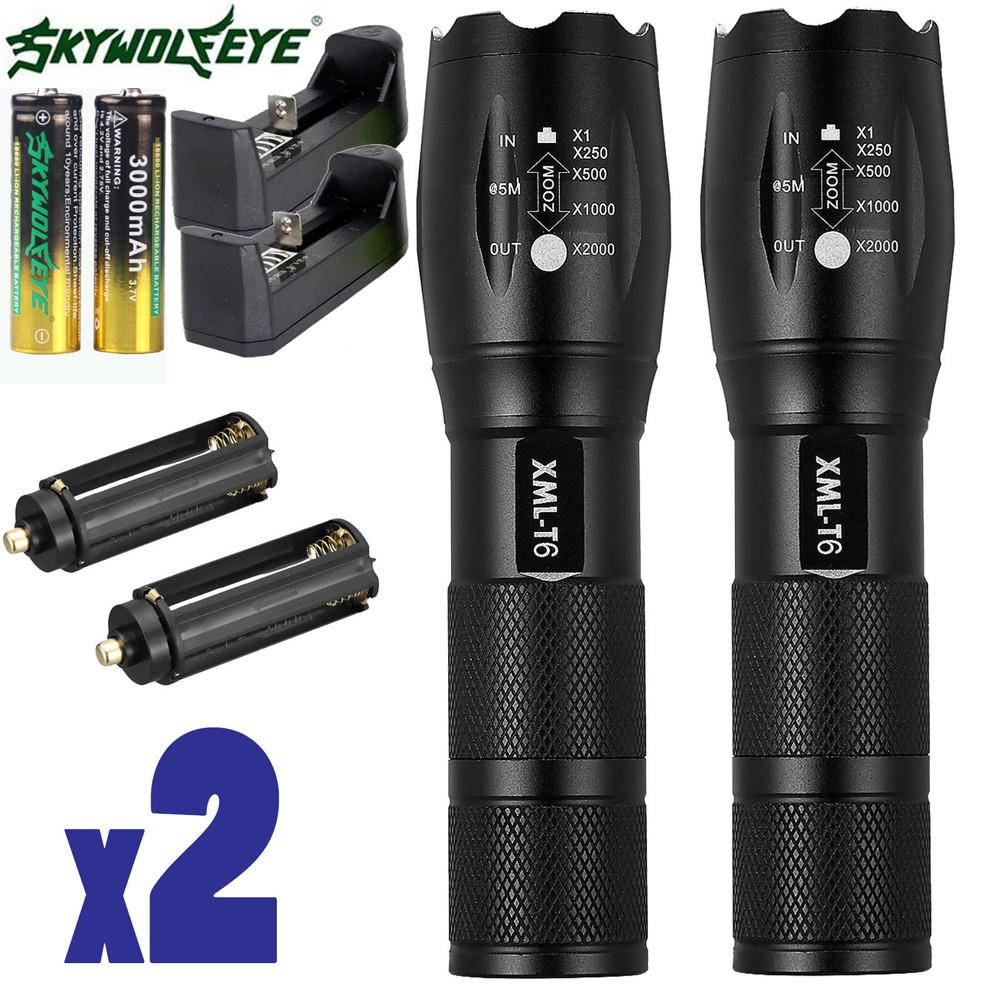 DZT1968 2 x Tactical Flashlight Ultrafire T6 High Powered 5 Modes Zoom Aluminum +Battery