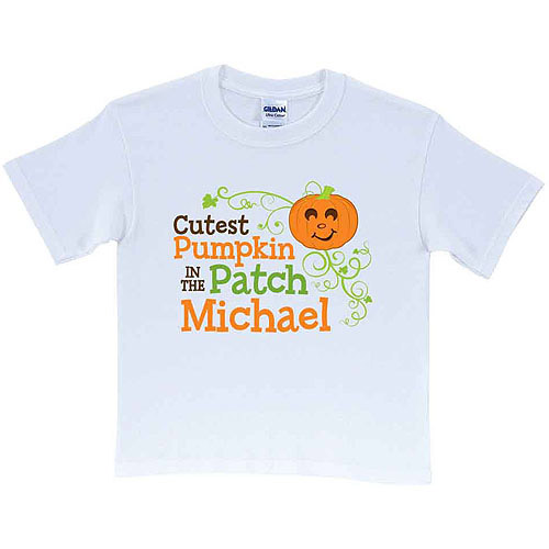 Personalized Cutest Pumpkin Toddler White T-Shirt