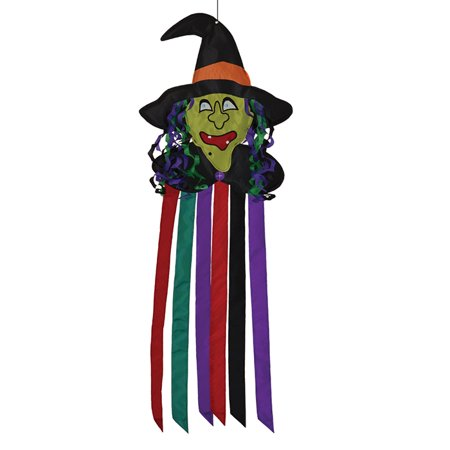 Scary Witch Head Holiday 40 Inch Outdoor Fabric Halloween Windtail - Halloween Pinwheels Appetizers