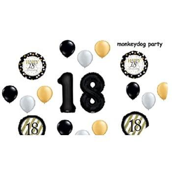 18 pc balloon set 18th birthday black gold classy party decorations balloons vhtf - Classy Birthday Decorations