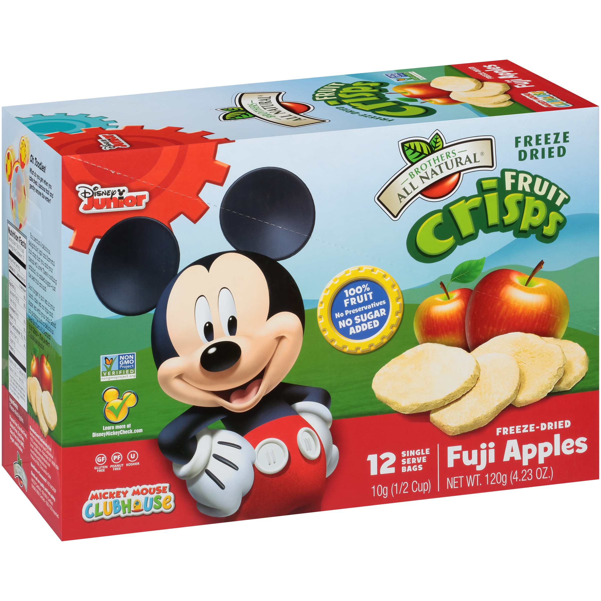 Brothers All Natural Mickey Mouse Freeze-Dried Fruit Crisps, Fuji Apples, 4.23 Oz, 12 Ct by Brothers International Food Corp.