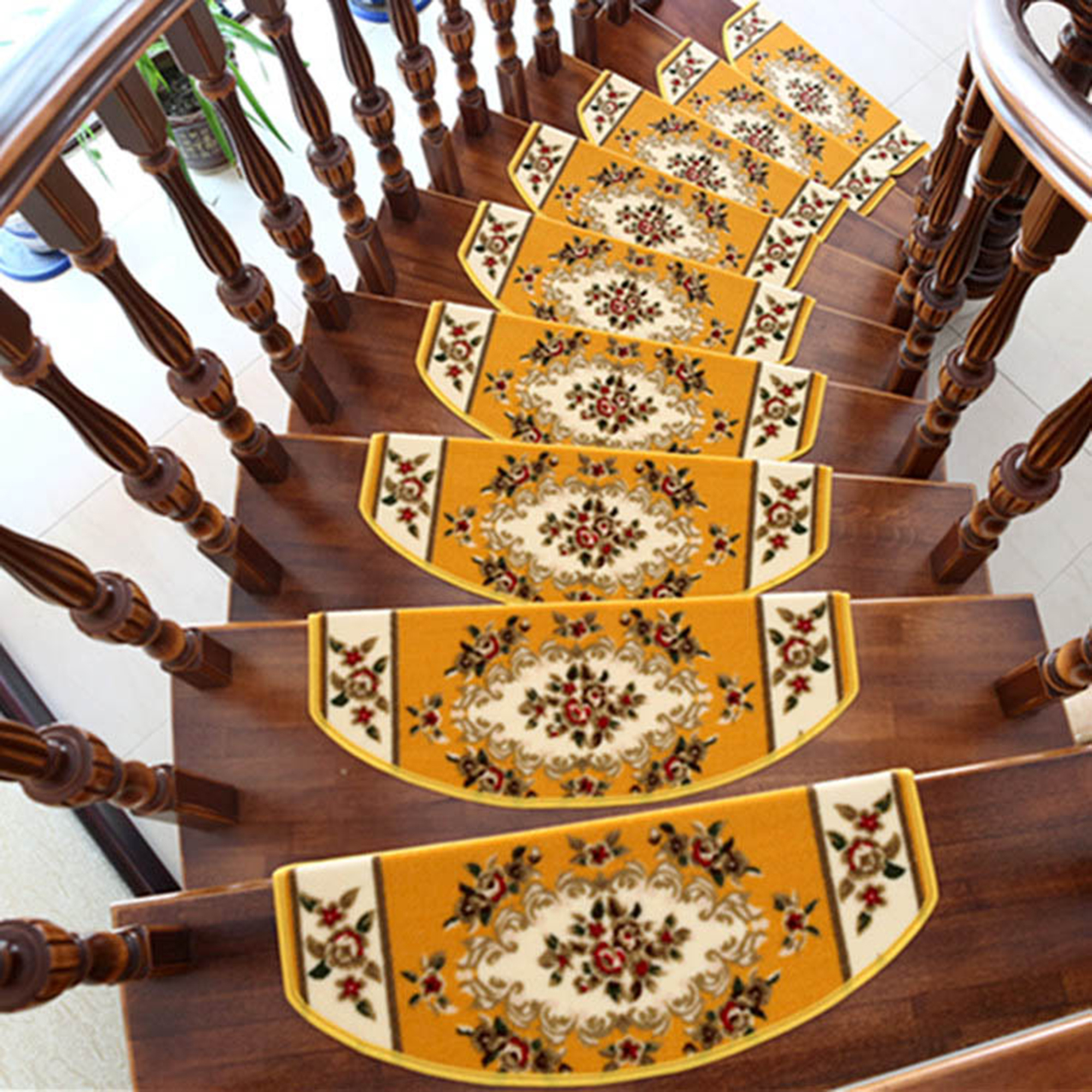 TINTON LIFE 13PCS Home Decor Area Rugs Blanket Anti-slip Stair Tread Carpet Floral Staircase, Yellow Arc