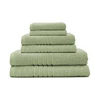 Softee Pastel Textured 6-Piece 100% Cotton Bath, Seedling Green
