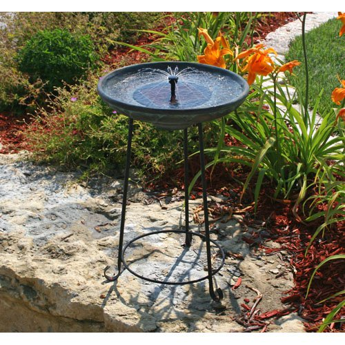 Smart Solar Somerset Verdigris Solar Birdbath Fountain by