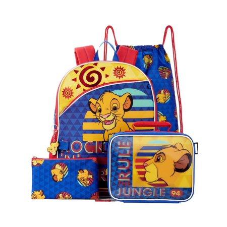 Disney Lion King Backpack & Lunch Box 5 Piece Set, School Bookbag