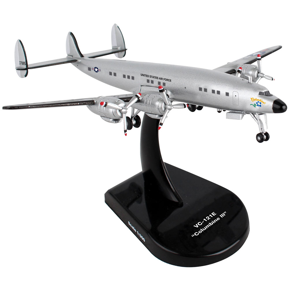 Us Air Force Vc-121e Columbine Plane Die Cast - 1:150 Scale Model w/ Stand