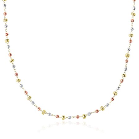 14k Tri-Color Gold Necklace with Textured Round and Barrel Bead Links - image 1 of 2