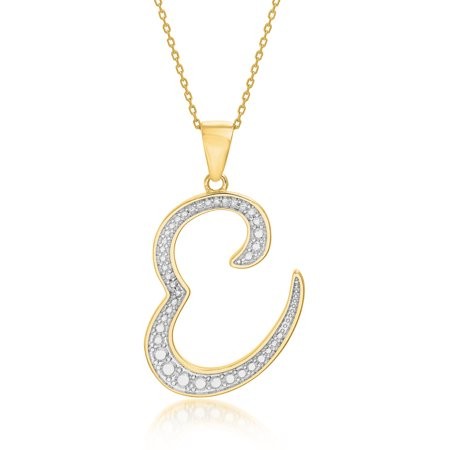 Lumineux Genuine Diamond Accent Script Initial Pendant in Yellow Gold over (Gold Genuine Diamond Cross)