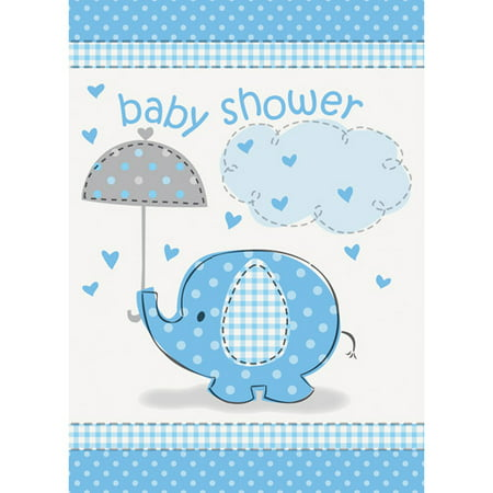 Blue Elephant Baby Shower Invitations, 8ct Caucasian Handmade Baby Shower Invitations