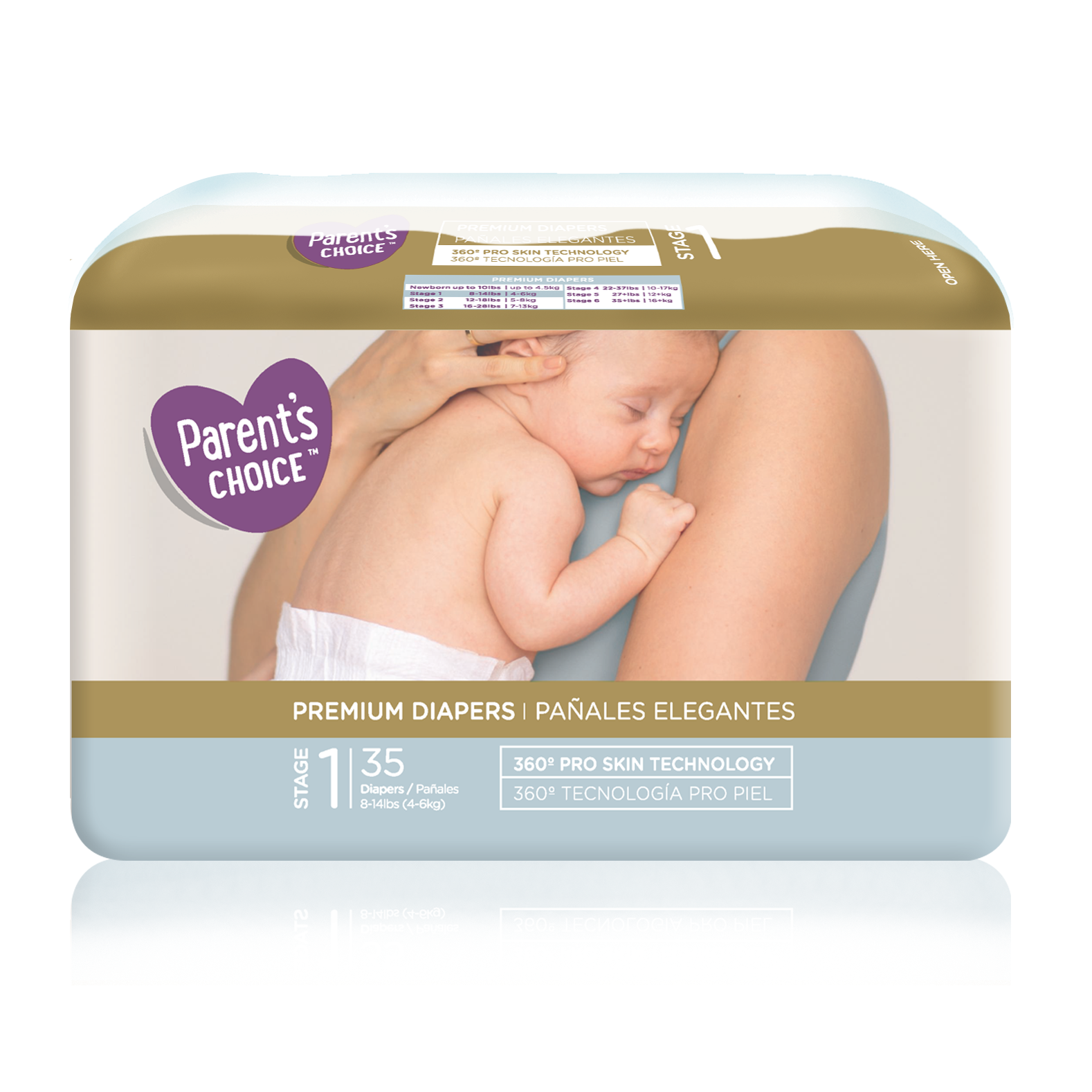 Parent's Choice Premium Diapers, Size 1: 8-14 lbs, 35 Count
