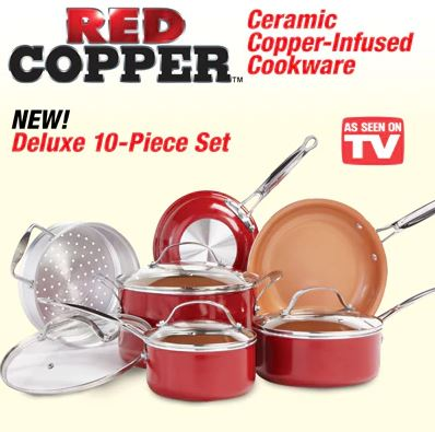 Red Copper As Seen On TV Copper Pan 10 Piece Set! All Purpose Ceramic NonStick Pan - Skillet, Fry Pan, Cooking Pan, More!