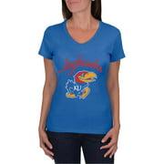 66b9104268b NCAA Kansas Jayhawks Women's V-Neck Tunic Cotton Tee Shirt