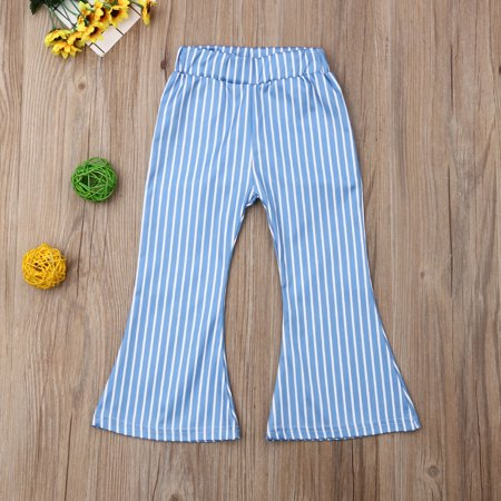 Toddler Kid Baby Girl Striped Bell Bottom Pants Elastic Waist Long Flare Pants