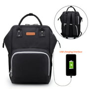 Large Capacity Nappy Changing Backpack with USB Charging Port,  Multi-function Baby Diaper Bag Mom and Dad Travel Backpack with 2 Insulated Thermal Milk Bottle Pockets, Stroller Straps