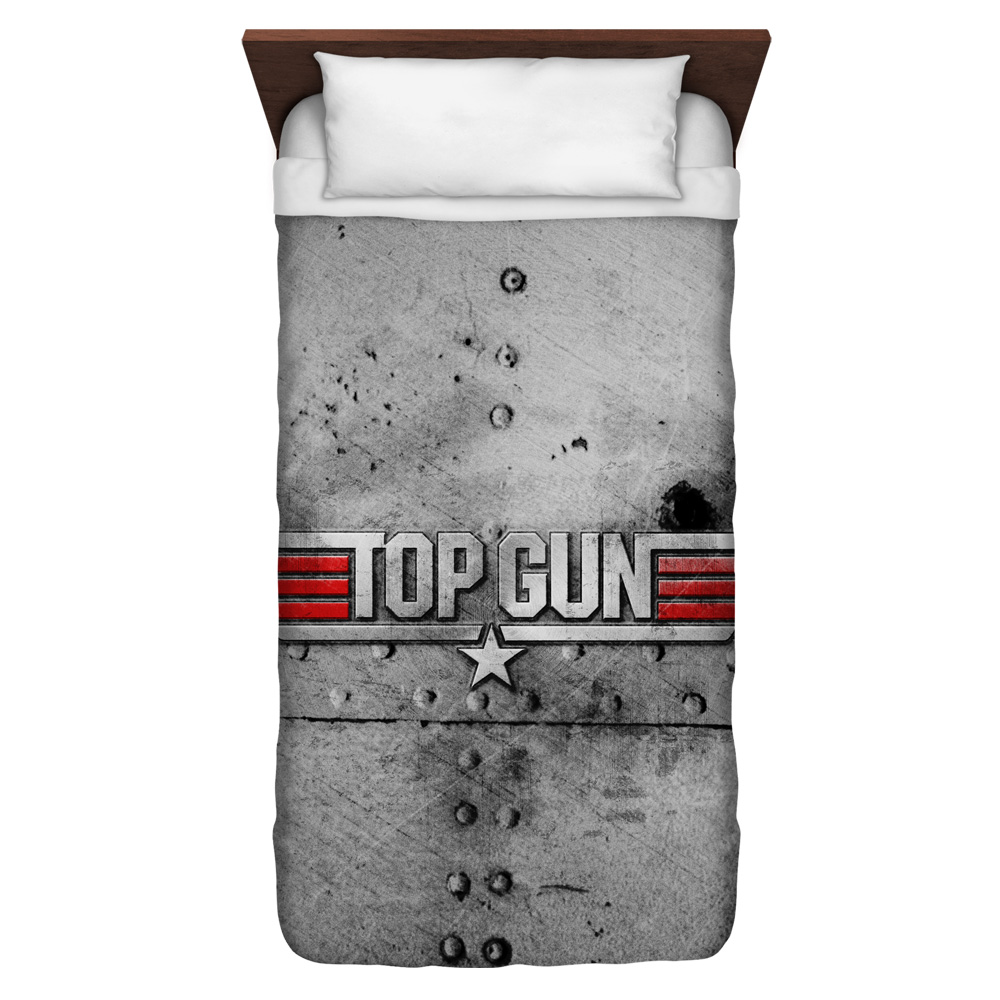 Top Gun Logo Twin Duvet Cover White 68X88
