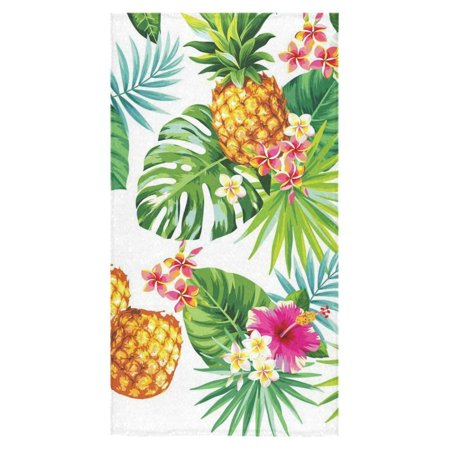 ZKGK Pineapple Tropical Pattern with Palm Leaves and Flowers Beach Bath Towels Bathroom Body Shower Towel Bath Wrap For Home Outdoor Travel Use 30