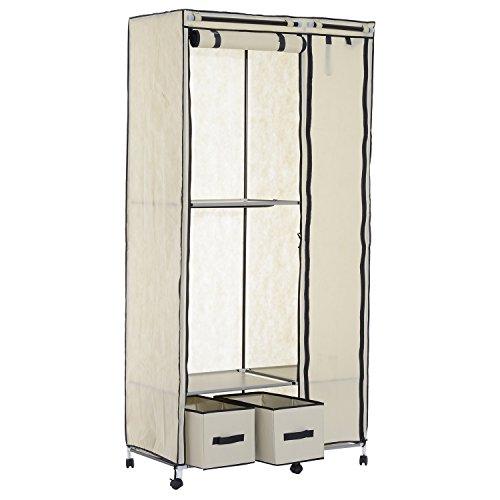 Homcom 79 Quot X 39 Quot Rolling Portable Clothes Closet Wardrobe Rack Beige Walmart Com