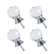 20mm Dia Crystal Glass Knobs Wardrobe Dresser Knobs Pull Handle for Home Office Hotel Cupboard Cabinet Clear, 4pcs