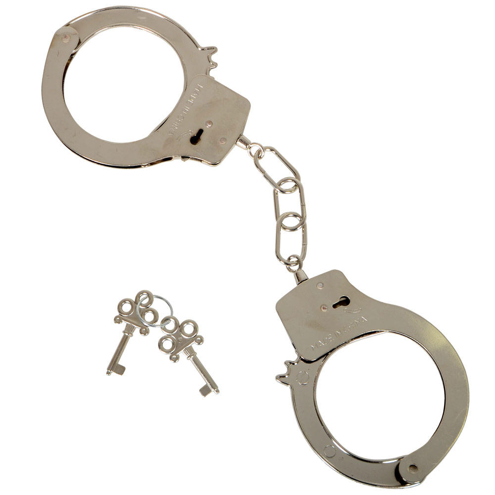 Metal Handcuffs Chrome Fake Toy Cuffs Costume Party Favor Police Officer Cop
