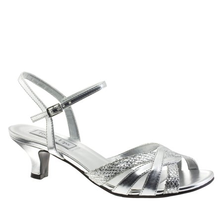 Image of Touch Ups Womens Jane Ankle-Strap Sandal, Silver Glitter,5.5 M US