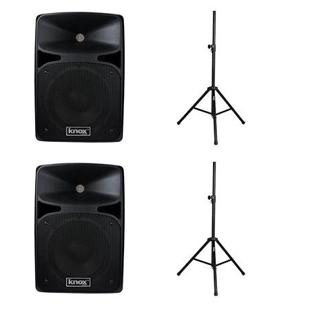 "2 Knox 25 Watt 8"" Active Bluetooth Speakers & 2 Knox Aluminum Speaker Stands w  Air Cusion by"